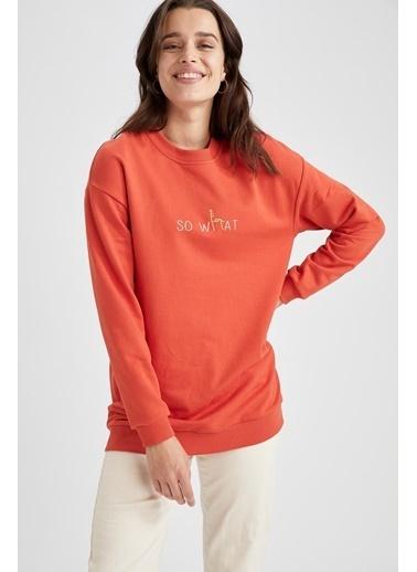DeFacto Yazı Baskılı Relax Fit Sweatshirt Kırmızı